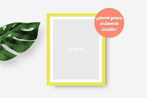Frame Mockup with Monstera Leaf