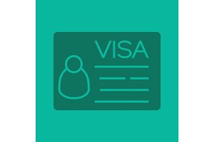 Travel visa glyph color icon