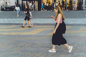 A girl with a smartphone