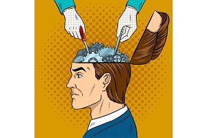 Hands repairs gears in head pop art vector