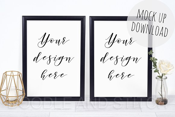 Download Two Black Frames Double Mockup