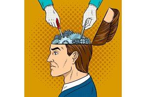 Hands repairs gears in head pop art vector
