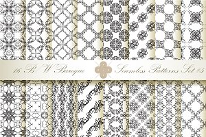 16 B&W Seamless Baroque Florals #5