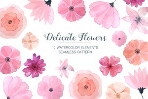Watercolor Delicate Pink Floral Set