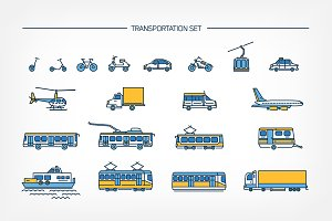Set​,seamless pattern with transport
