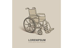 Wheelchair. Vector hand drawn illustration