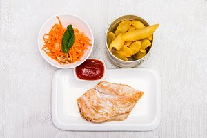 Chicken meat with french fries
