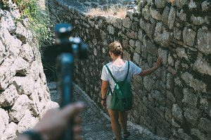 Tourist makes video on action camera