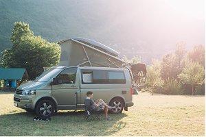Camping van in mountain camp site
