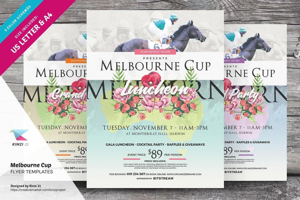 Melbourne Cup Flyer Templates ~ Flyer Templates ~ Creative Market