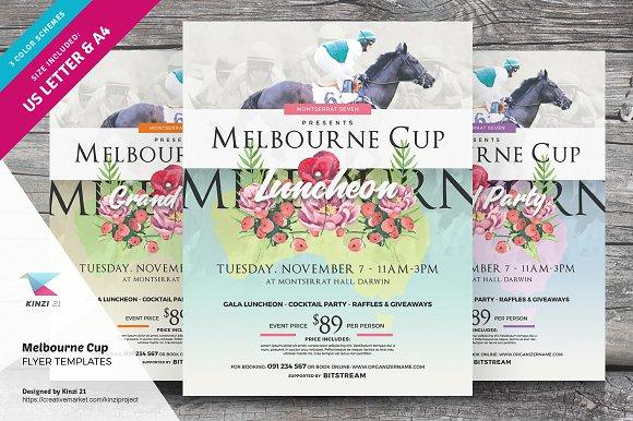 melbourne cup flyer templates flyer templates creative market