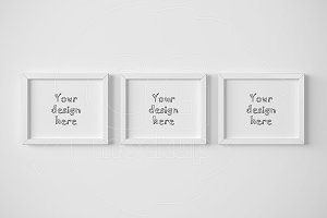 Set of 3 landscape frame mockup 8x10