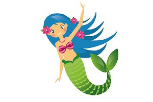 Cute mermaid with blue hair