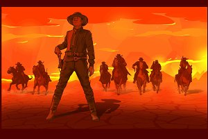 Western cowboys vector illustration.