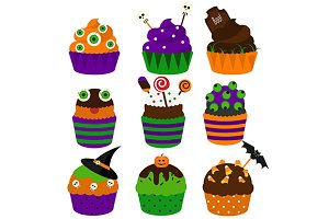 Halloween cupcakes icons