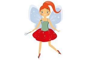 Winged fairy with magic wand