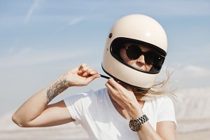 girl button up motorcycle helmet
