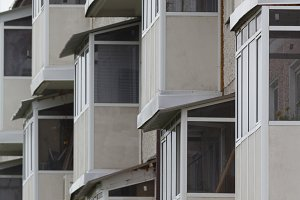 Many of identical balconies on living building