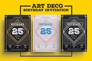 Simple Art Deco Birthday Invitation