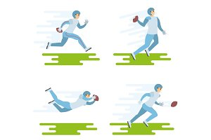 Set of American football players illustrations.