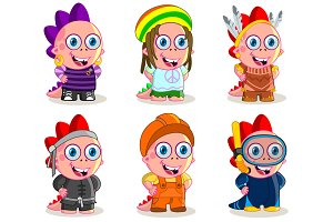 Cartoon characters in costumes