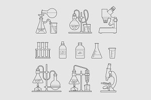 chemical glassware icons set