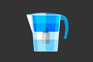 Blue pitcher water filter