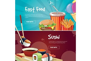 vector illustration of two web banners with fast food pictures