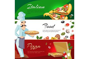 Vector Cartoon web banners with ingridients of pizza
