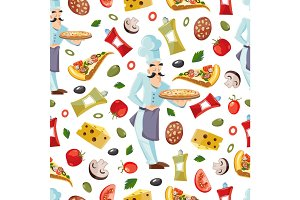 Vector Cartoon seamless pattern with ingridients of pizza