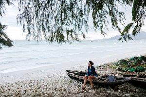 girl travel asia beach in Vietnam