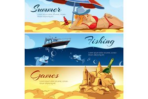 vector horizontal banners with pictures of summer rest.