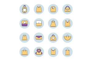 vector icons set of shopping bags