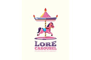 Retro carousel with one pink horse isolated on light background.