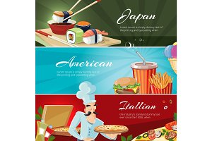 Traditional cuisine of America, Japan and itallians