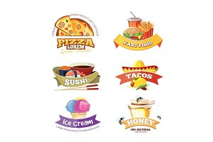 vector emblem set with food illustrations