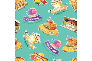 vector seamless pattern with emblems of food illustrations