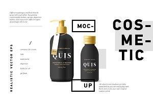 Cosmetic vector mockup black bottle