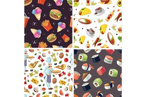 vector seamless pattern with fast food icon set