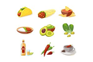 Vector illustration of Mexican traditional food