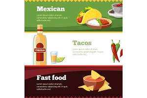 Vector horisontal banners set with Mexican traditional food