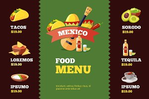 vector illustration of background restaurant menu template with Mexican food.