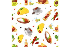 Vector seamless pattern with Mexican traditional food