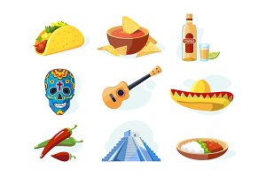 Vector icon set with traditional mexican ellements