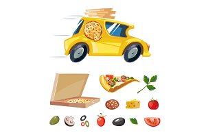 cartoon picture of pizza delivery yellow car