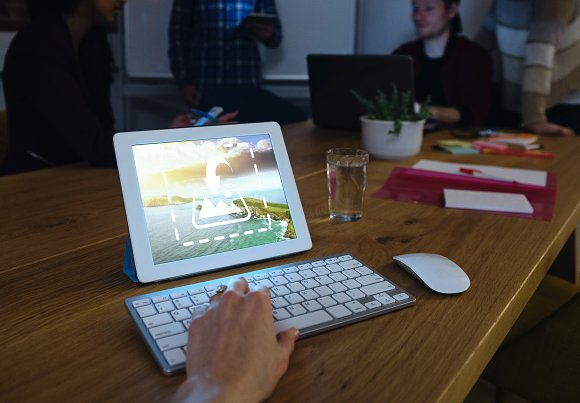 Group Studying With Tablet Mockup