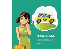 Yong woman calling a taxi