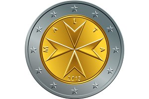vector Maltese money gold euro coin two euro