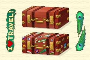 ♥ vector old leather suitcase