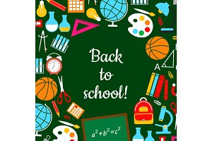 Back to school study lesson supplies vector poster